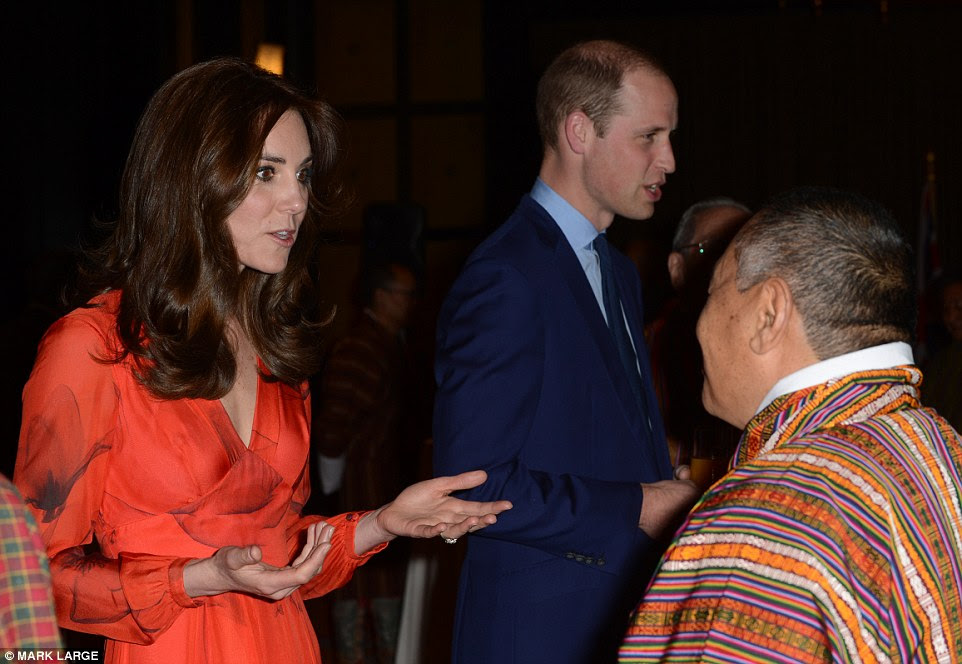 Glamorous: The Duke and Duchess of Cambridge mingle with guests at the reception celebrating the reception between Britain and Bhutan