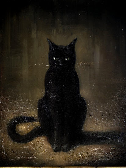 caughtupinsomebusyday:  Black Cat Painting