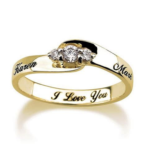Engraved Engagement Promise Ring Gold Plated, Couples Ring