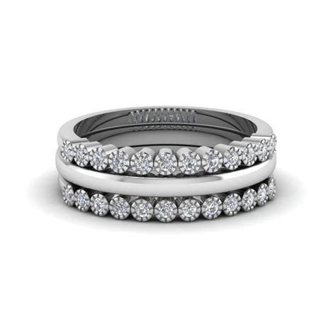 Princess And Round Diamond Womens Wedding Stackable Band