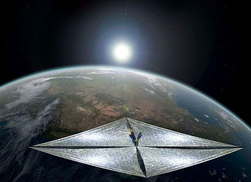 An artist's concept of the LIGHTSAIL-1 spacecraft in Earth orbit.