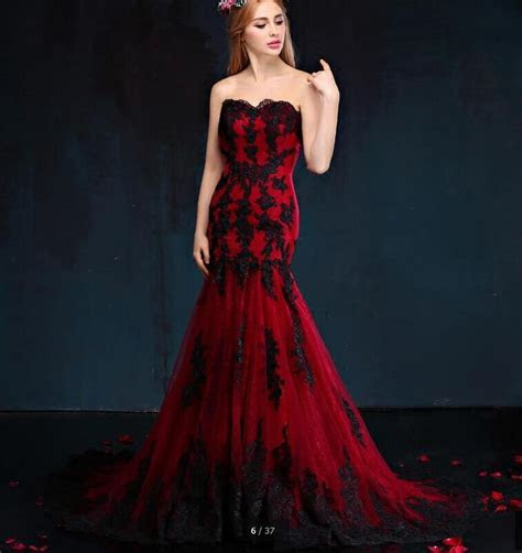 Black And Red Gothic Wedding Dresses Mermaid Sweetheart