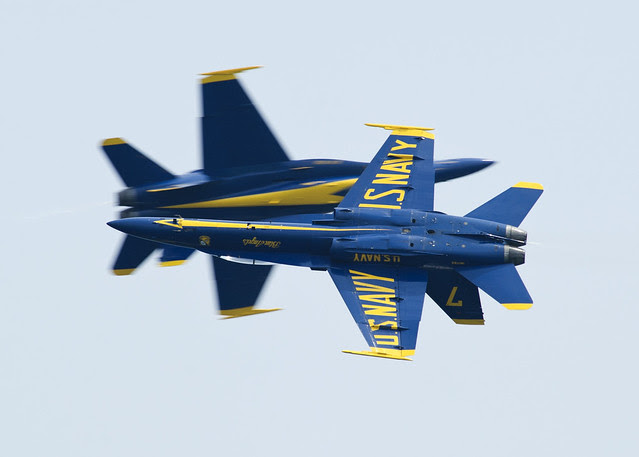 The Blue Angels' solo pilots perform a maneuver during the Pensacola Beach Air Show