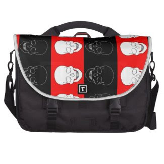 skull red and black commuter bags