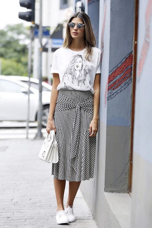 Le Fashion Blog Weekend Style Round Sunglasses Graphic Tee Small Tote Bag Striped Tie Front Skirt White Sneakers Via Anna Fasano
