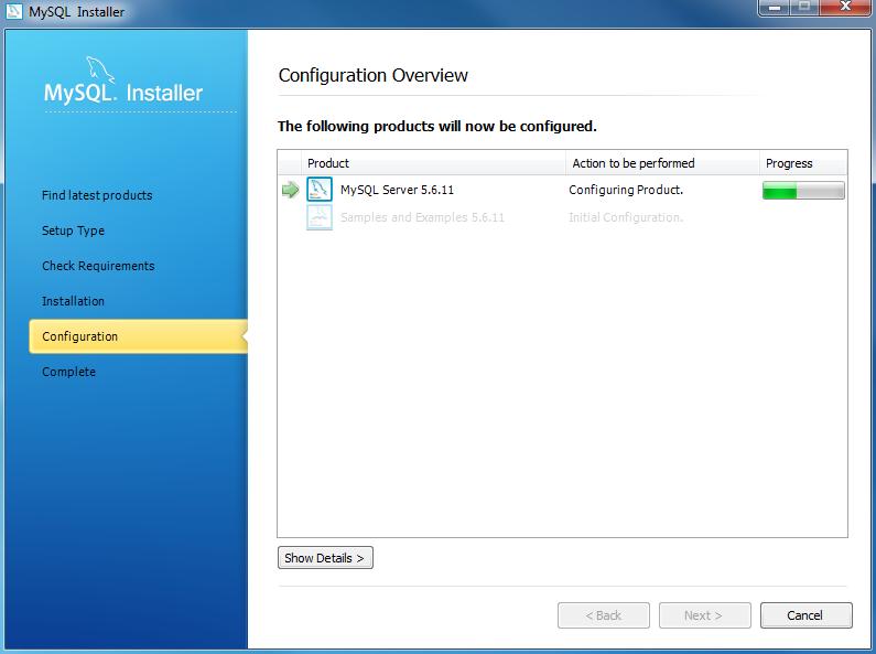 Install MySQL Step 8.1 - MySQL Server Configuration - In Progress