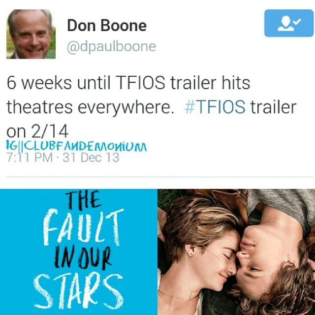 Trailer for #tfios to be released 2/14. #thefaultinourstars #faultinourstars #Augustuswaters #hazelgrace #johngreen
