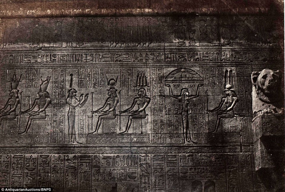 Freize from the temple at Dendera in High Egypt is one of the scenes photographed by Du Camp, which made him an overnight celebrity on their release