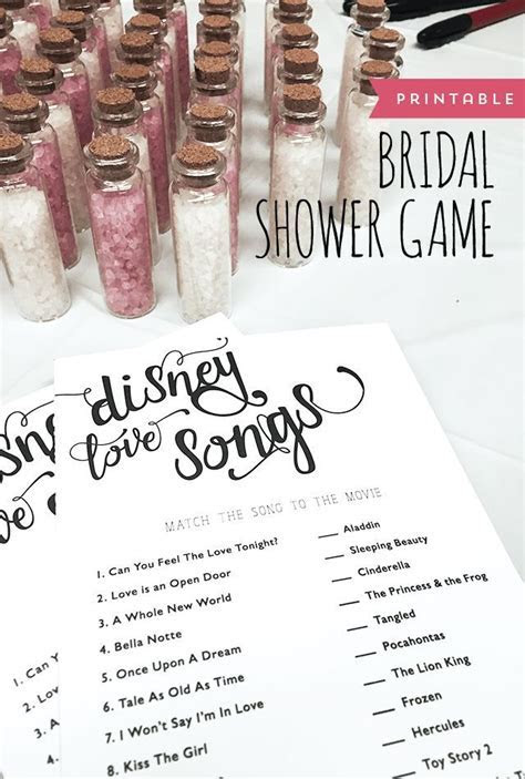 FREE Printable: Bridal Shower Game   Match the Disney Love