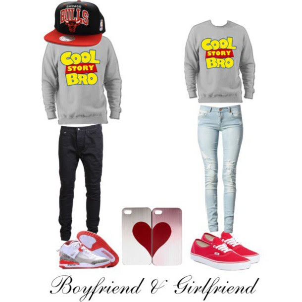 matching boyfriend girlfriend sweaters  baggage clothing