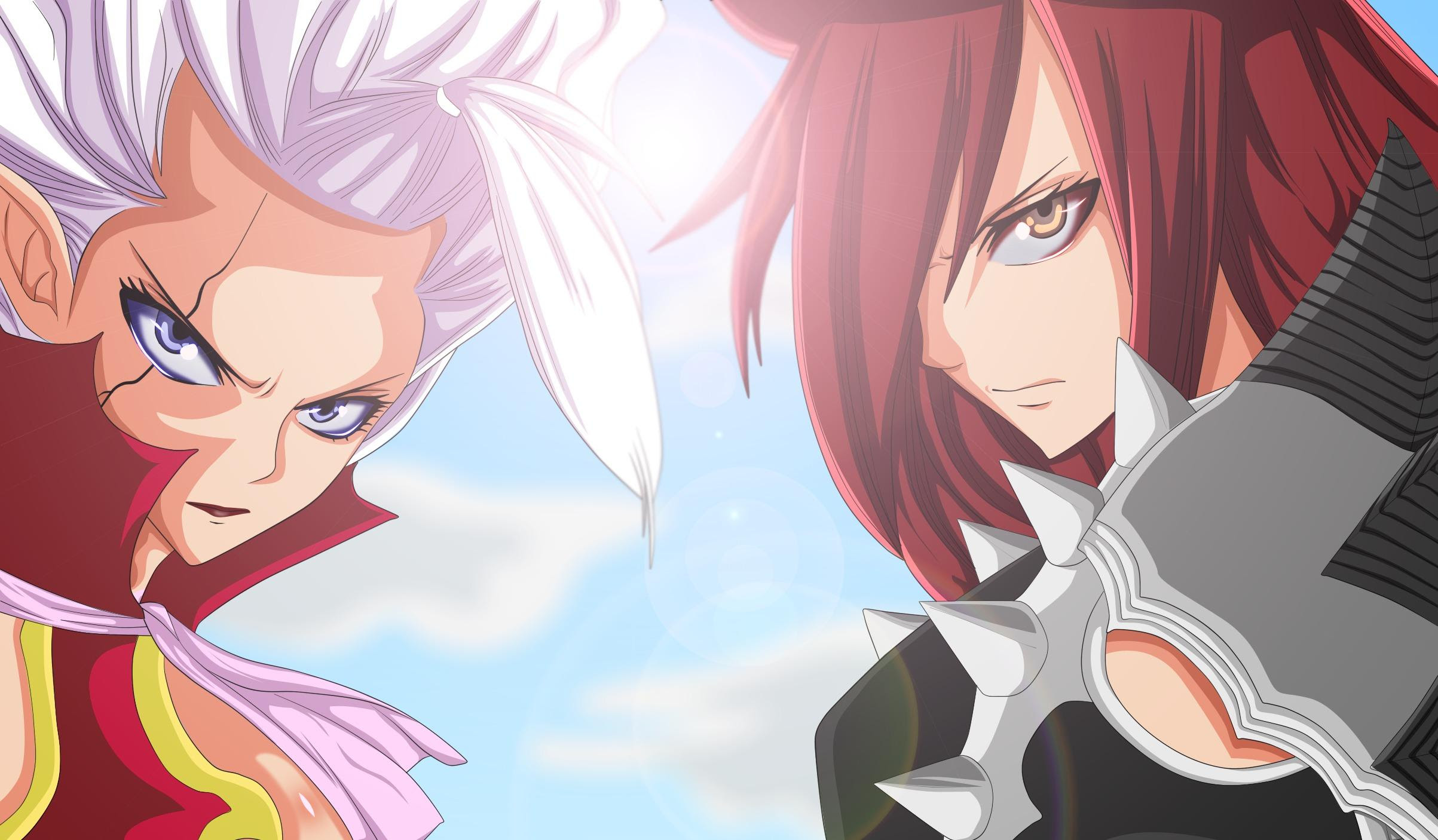 Hd Fairy Tail Erza Scarlet Mirajane Strauss Face Anime Girl