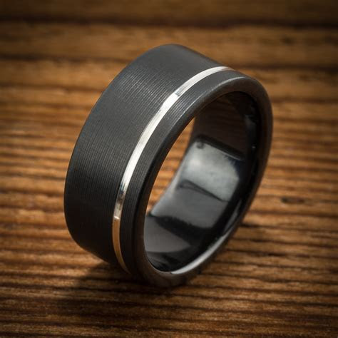 Men's Wedding Band Comfort Fit Interior Black Zirconium