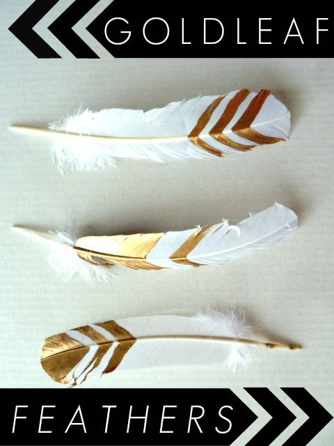 DIY Gold Leaf Feathers || Great idea for fall decor. Easy and stylish.