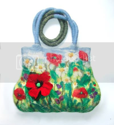 Felted handbag with flower