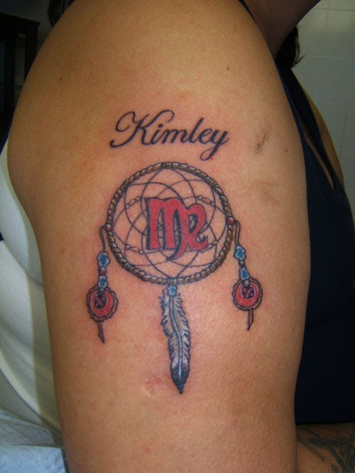 Color Ink Dreamcatcher Tattoo