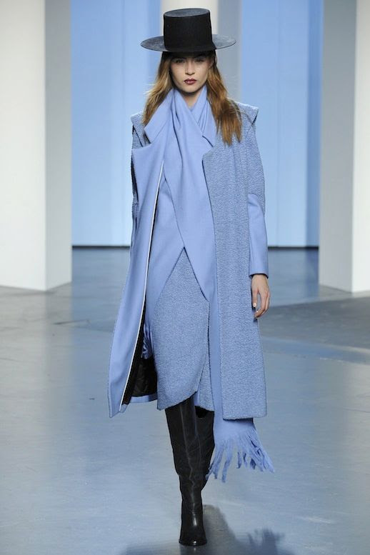 LE FASHION BLOG TIBI FW 2014 COLLECTION PERIWINKLE BLUE TEXTURED COAT CROSS WRAPPED MATCHING SCARF MONOCHROME LEATHER KNEE HIGH BOOTS BLACK AMISH TOP HAT BURGUNDY LIPSTICK BECK BLUE MOON SONG NEW ALBUM NEW YORK FASHION WEEK 1 photo LEFASHIONBLOGTIBIFW2014COLLECTION1.jpg