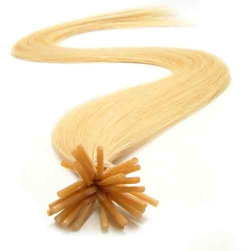 200 Strands Micro Ring Links Locks Beads Keratin Stick I Tip Straight Human Hair Extensions Color #22 Light Blonde