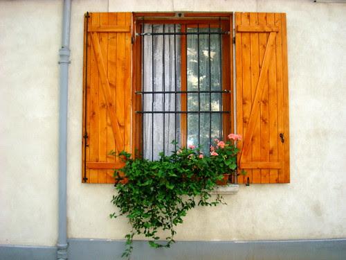 A window near the poppies