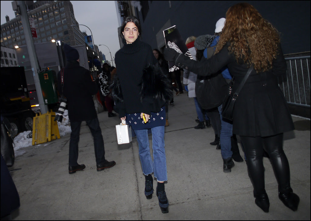 FW 2014-2 -26 Leandra Medine Man Repeller black sweater with fur sleeves jeans platforms ol