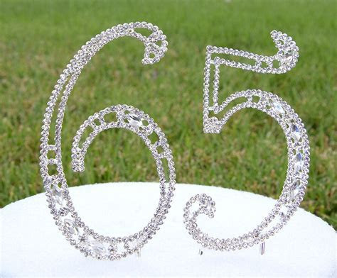 """5"""" Crystal Rhinestone Number 65 Silver Cake Topper Top"""