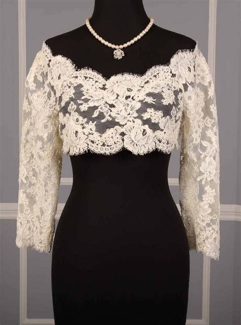 Elegant Monique Lhuillier Alençon lace jacket.   Pretty