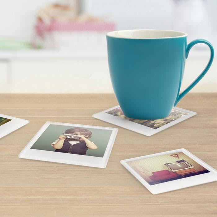 Customisable Glass Photo Coasters Insert Your Own Image Homewares