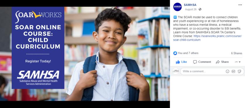 SAMHSA Facebook post of SOAR Online Course: Child Curriculum