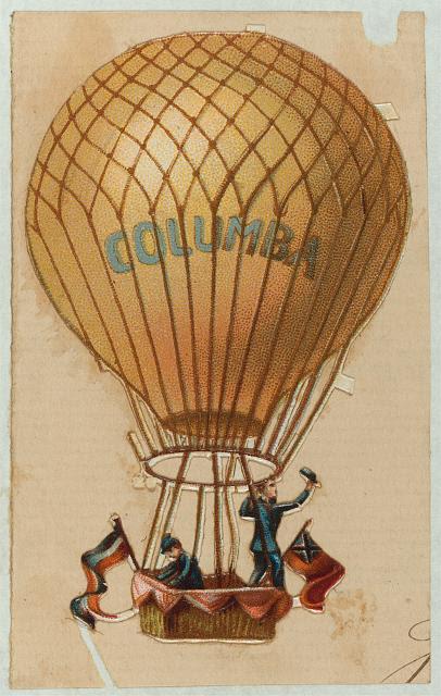 "[Balloon ""Columba"" flying with two passengers]"