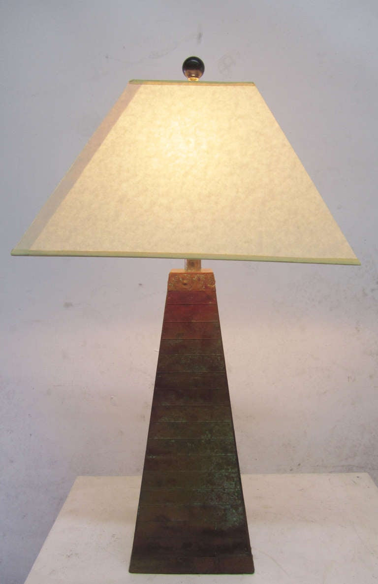 Unusual Mid-Century Copper Table Lamp at 1stdibs