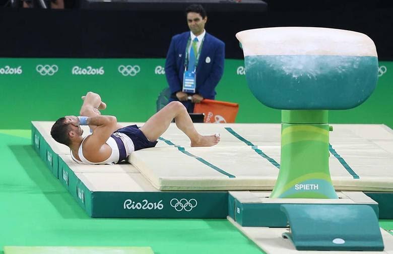 O acidente aconteceu durante a segunda rodada da disputa por equipes da ginástica artística, durante a terceira rotação, enquanto a França estava no aparelho de salto