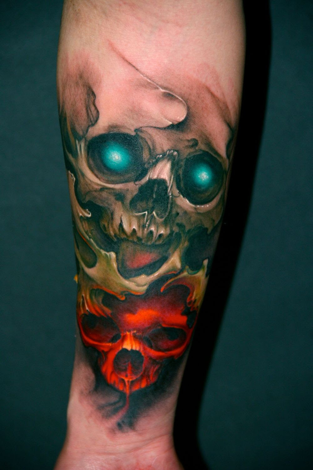 Half Sleeve Skull Tattoos