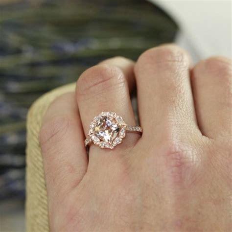 Vintage Floral Morganite Engagement Ring In 14k Rose Gold