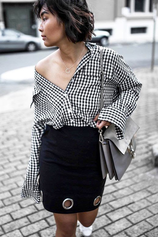 Le Fashion Blog Blogger Style Black And White Gingham Button Down Shirt Grey Chloe Bag Grommet Detailed Skirt White Sneakers Via @beigerenegade