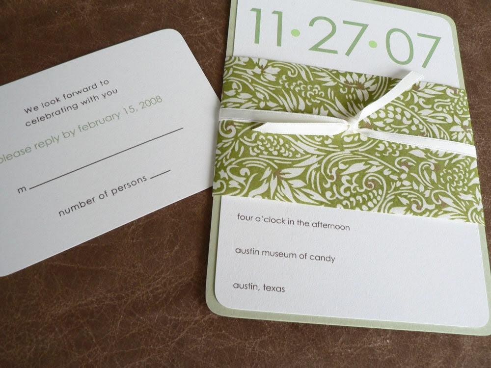 Wedding invitation set - Botanical Green and Ivory
