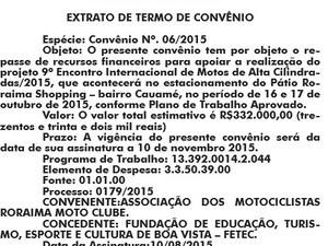 Publicação do convênio foi divulgado no Diário do Município (Foto: Reprodução/)