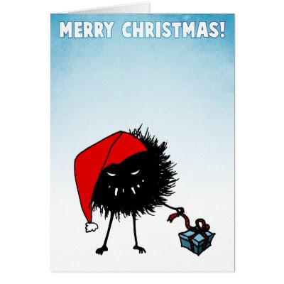 Evil Christmas Bug With Present Cards