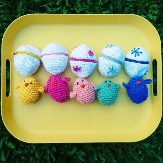 Easter eggs & baby chicks Crochet Amigurumi Pattern PDF ebook - playful egg box TOY kids will love