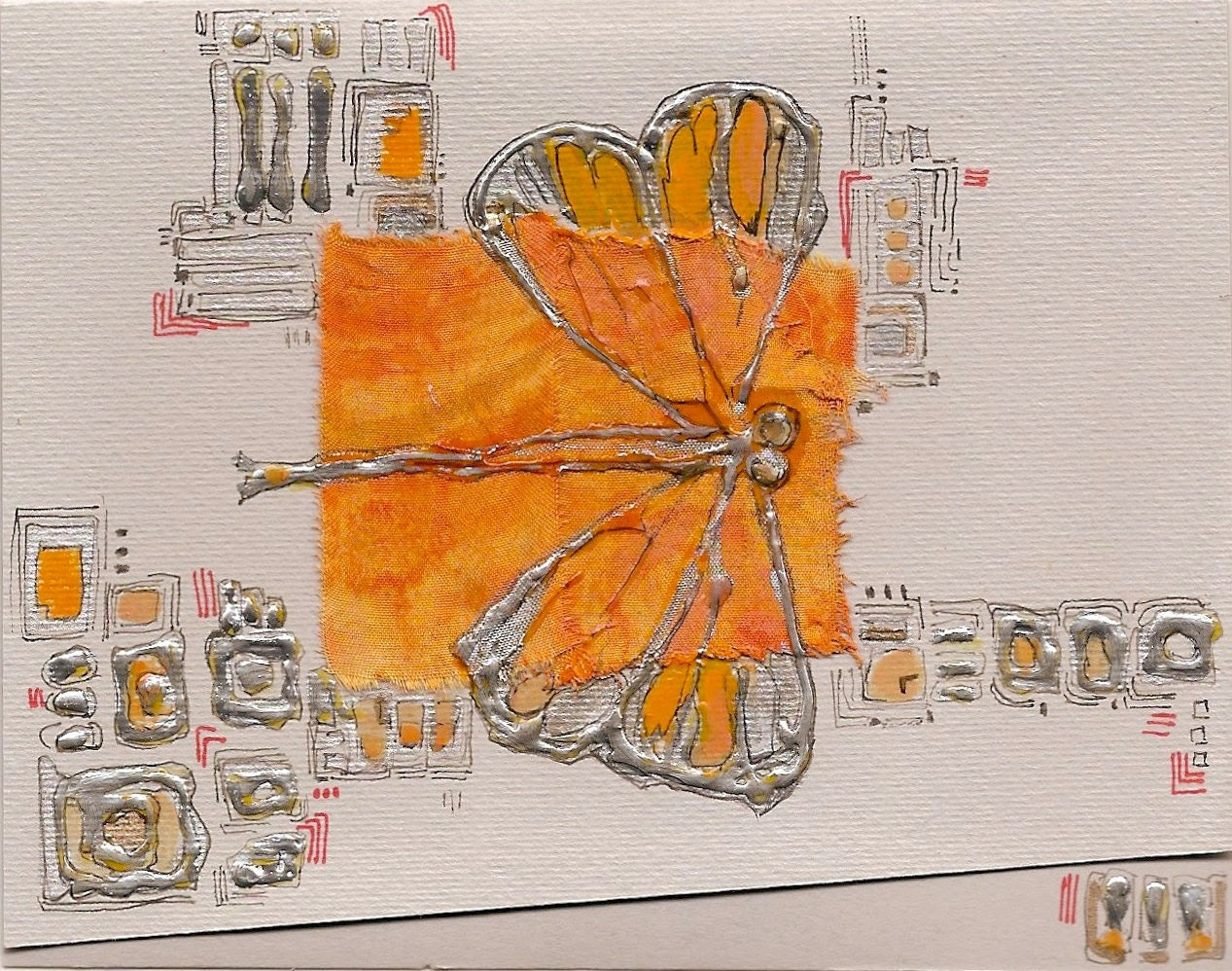 Orange dragonfly, flying over the city II - blank greeting card for any occasion