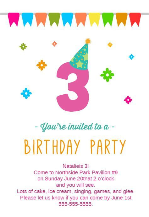 3rd Birthday Party   Free Birthday Invitation Template