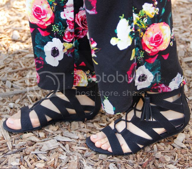 Merona floral wide leg pants, Sam & Libby Arianna gladiator sandals