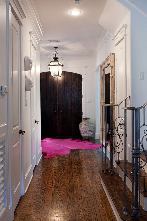 Sally Wheat Entry with Pink Cowhide Rug