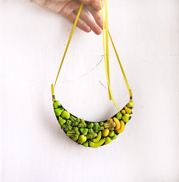 Statement Necklace Happy Vegetables yellow and green, bib necklace, vegetables jewelry, chunky necklace