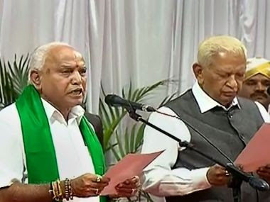 File image of BS Yediyurappa taking oath as chief minister. PTI