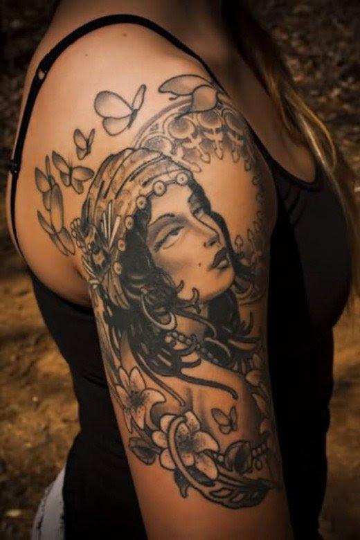 Grey And Black Gypsy Girl Tattoo