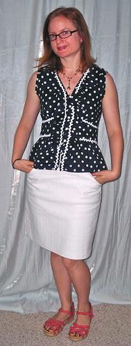 Polka Dot with White Skirt