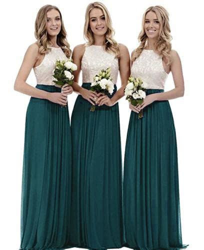 Megan Teal Green Ivory Party Bridesmaid Prom Evening Dress UK