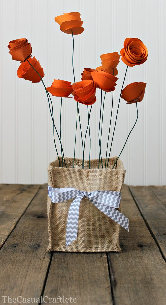 Burlap Vase Holder with Paper Flowers