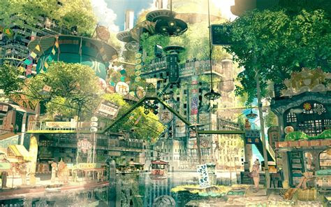 drawing city cityscape japan fictional nature anime