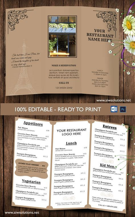 Design & Templates,tri fold take out menu, Menu Templates