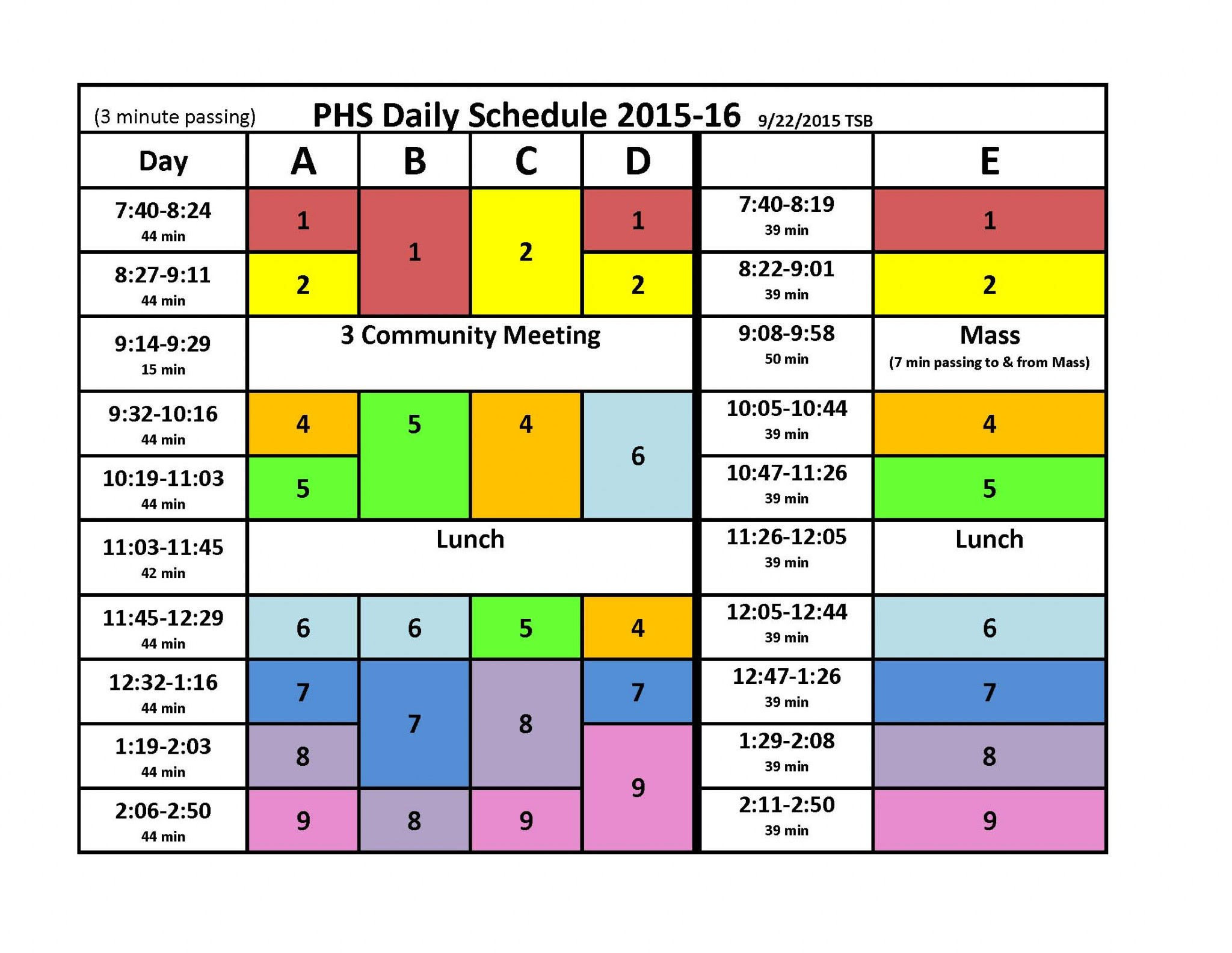 Pacelli Catholic Schools | Daily Schedule